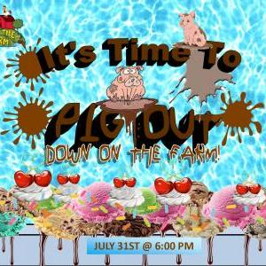 Down on the Farm - It's Time To Pig Out - 20' Ice Cream Sundae Trough